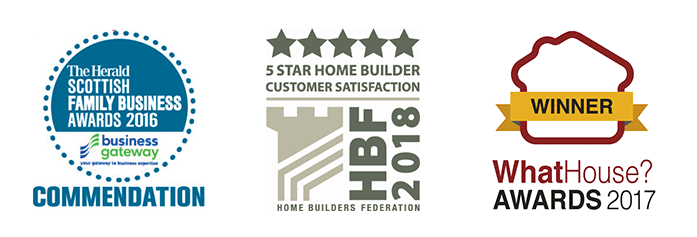 The Herald Scottish Family Business Awards 2016 Commendation - HBF 2018 5 Star Home Builder Customer Satisfaction - WhatHouse? Award Winner 2017